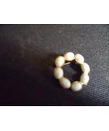 Pin - White Scarab Look Circle Pin on Goldtone - $20.00