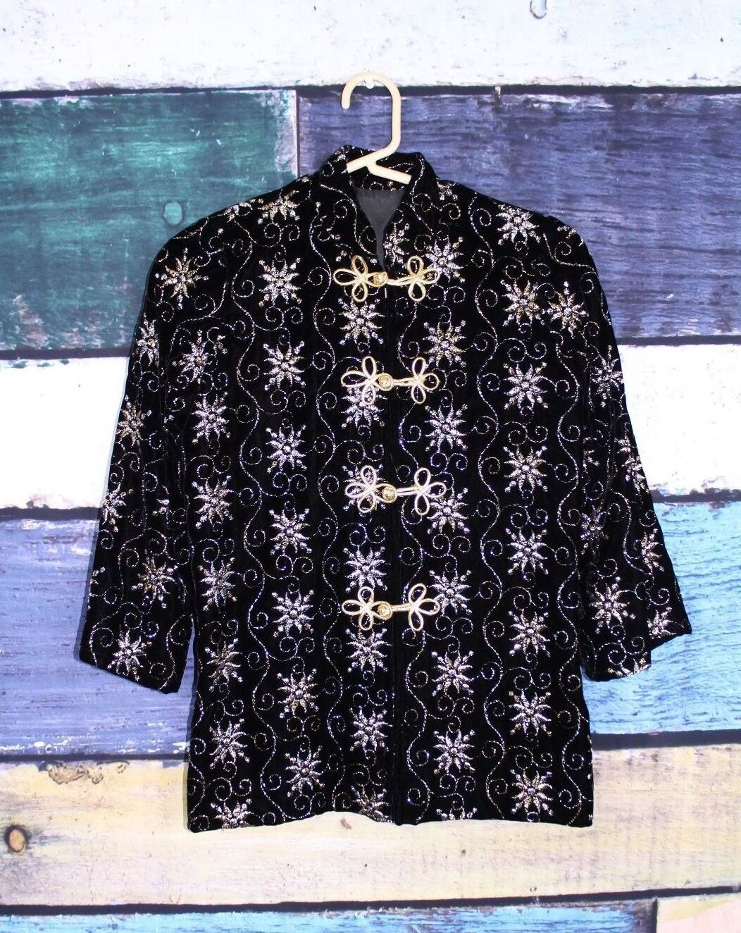 Primary image for Vintage 60s Black Velvet Silver Gold Metallic Asian Frog Closure Jacket 0 2 XS