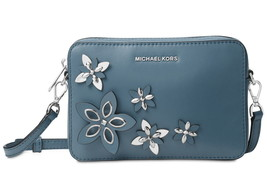 Michael Kors Flowers Pouches Medium Camera Crossbody Leather Bag Denim NWT - $137.61