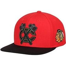 Chicago Blackhawks NHL Reebok Red Black Retro Logo Hat Cap Flat Visor Sn... - €16,88 EUR