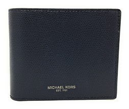 Michael Kors Warren Men's Leather Billfold with Passcase Wallet - Navy -... - $64.95