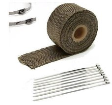 "Chevrolet 1"" x 25' Protection Header Exhaust Heat Wrap Titanium with 8 Steel Tie - $12.60"