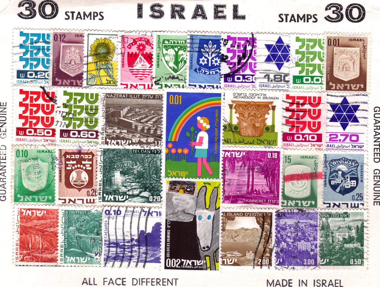 ISRAEL 30 Stamps Sheet, Genuine All Face Different