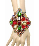 Huge Vintage Inspired Multicolor Rhinestones Bracelet, Pageant, Drag Queen - $32.30