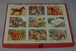 Old Vintage Victory Nine Picture Animals Wood Jig Saw Puzzle  - $35.00