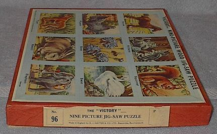 Old Vintage Victory Nine Picture Animals Wood Jig Saw Puzzle