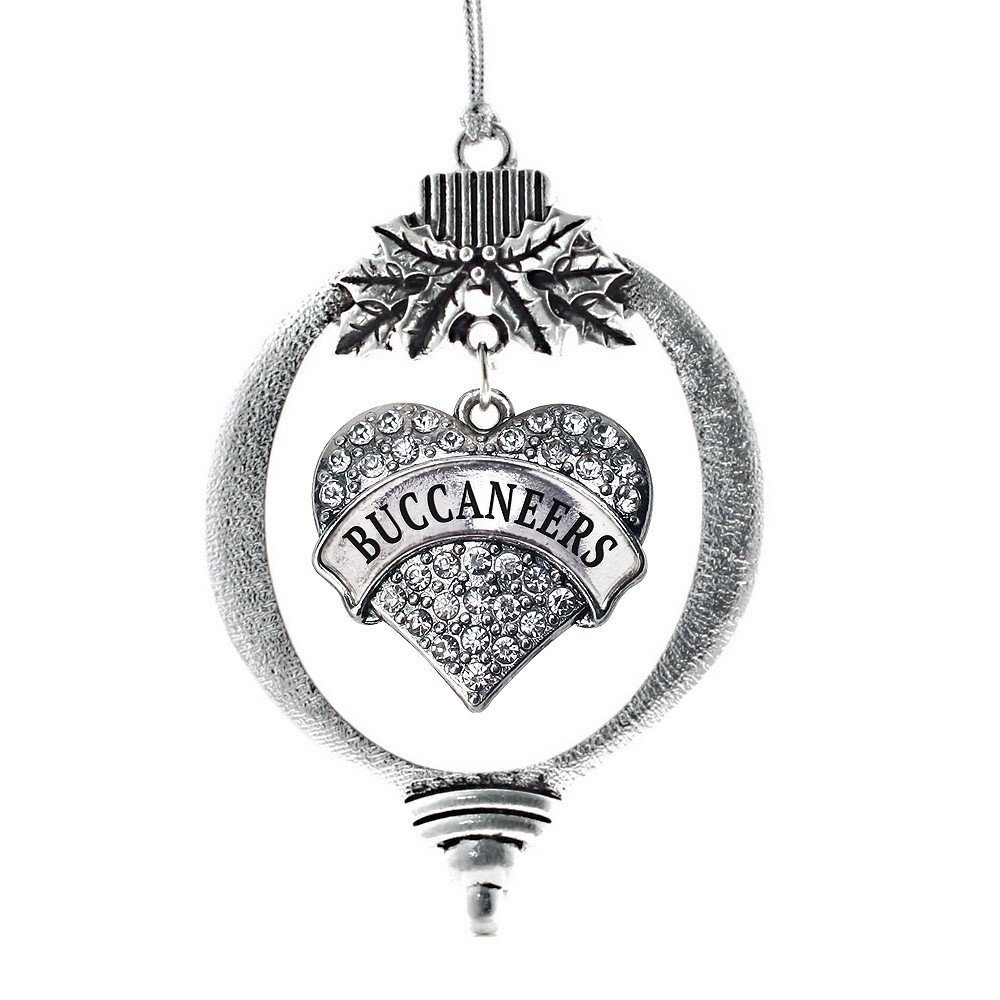 Primary image for Inspired Silver Bucaneers Pave Heart Holiday Decoration Christmas Tree Ornament