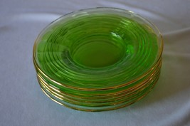 "6  Hocking Glass  Green Circle Sherbet/Saucer Plates Gold Rim 6"" - $23.76"
