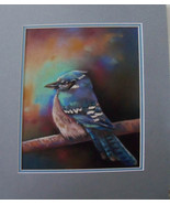 Original Art painting 11x16 framed pastel blue jay framed ready to hang - $355.00