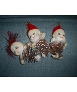 Three Vintage Pinecone Elf Christmas Ornaments,... - $11.00