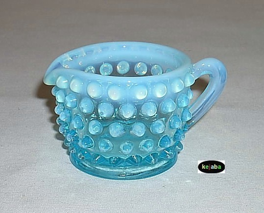 Fenton Blue Opalescent Hobnail Individual Creamer