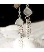 White Jelly Fish Sea Glass Earrings - $225.00