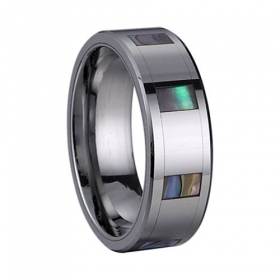 6003 square shell inlay tungsten ring
