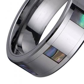 TU6003 Men's Abalone Shell Inlay Tungsten Carbide Ring