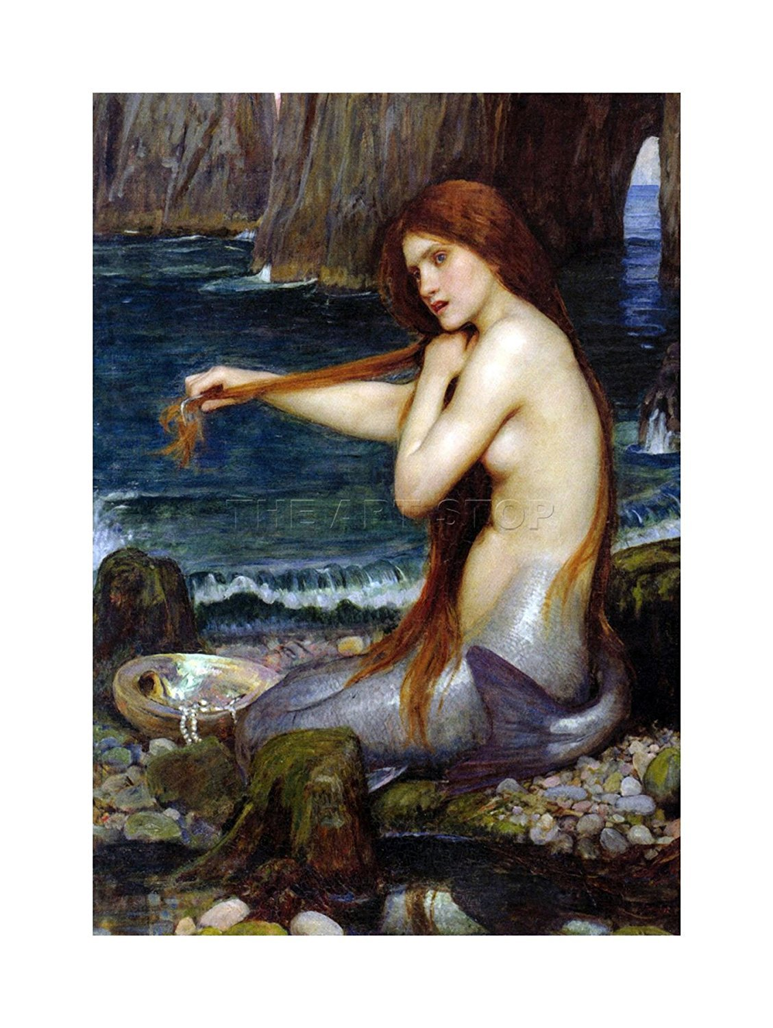 A Mermaid Poster 12x16 inches John William Waterhouse 1900 Mermaids  image 1