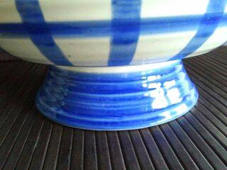 Enesco Country Living Dry Goods Blue Plaid Large Footed Bowl