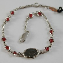 925 SILVER BRACELET WITH RUBY AND VIRGIN MARY MEDAL BY ZANCAN MADE IN ITALY image 1