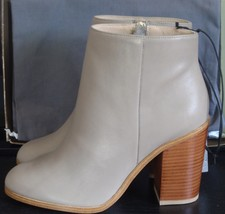 NEW H&M TAUPE 100% LEATHER ROUND TOE STACKED BLOCK HEEL ANKLE BOOT 8 (39) M - £74.48 GBP