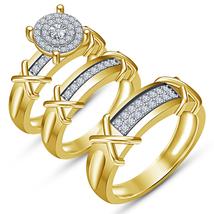Yellow Gold Fn Men Women His Her Diamond Engagement Bridal Wedding Trio ... - $149.99