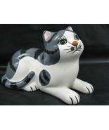 Royal Orleans Designer Cat Kitty 1985 Lying Ceramic Figurine Green Eyes - $24.95