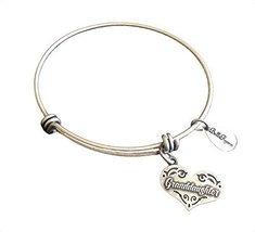 Bella Ryann Granddaughter Heart Silver Charm Bangle Bracelet