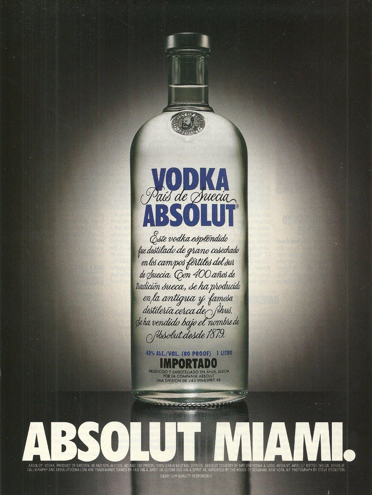 Primary image for ABSOLUT MIAMI Vodka Magazine Ad Spanish Text Version