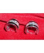 925 Sterling Silver Black Enamel Earrings Silver Discs Starburst Diamond... - $9.95