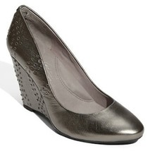 Nib Kenneth Cole Lucky Break Pewter Leather Wedge Size 9.5 New (Make An Offer) - $154.44