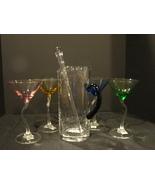 Mikasa Baja Martini Set 4 Multi-color glasses 1 Pitcher 1 Stirrer New - $12.99