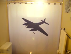 SHOWER CURTAIN Airplane plane WWII Bomber B52 military