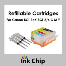 BCI-3eK BCI-6 C M Y Refillable Ink Cartridges for Canon  - $16.80