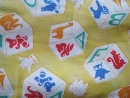 Michael Miller Fabrics Vintage Style Animals on Blocks on Yellow fabric  - $8.55