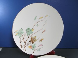 "4 Lenox Westwind 10.5"" Dinner Plates Lot of 4 Gold Trim Blowing Leaves  - $67.66"