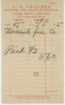 1915 A. S. Craumer Hatter & Clothing Billhead Receipt Lebanon PA Men Shirts - $5.00