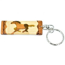 Northwoods Wooden Parquetry Rustic Running Horse Design Tile Keychain image 1