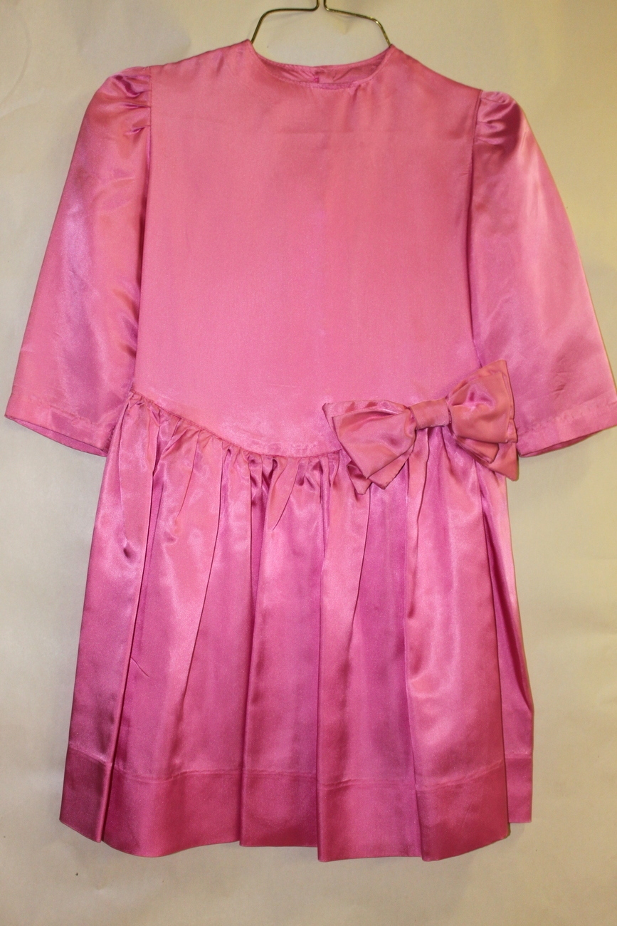Girls Pink Satin Hand Sewn Easter Brides Maid's Dress