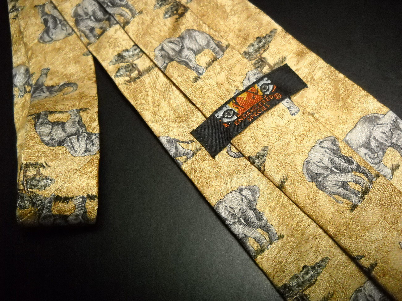 Endangered Species Neck Tie Multiple Grey Elephants On Golden Brown Savannahs