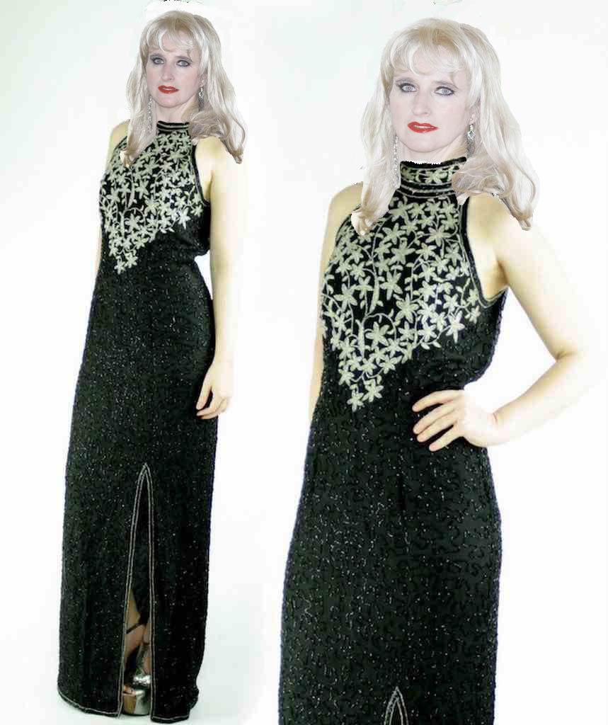 Silk Sequin Beaded High Slit Trophy Maxi Dress