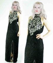 Silk Sequin Beaded High Slit Trophy Maxi Dress image 1