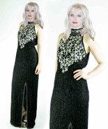 Silk Sequin Beaded High Slit Trophy Maxi Dress - $65.00