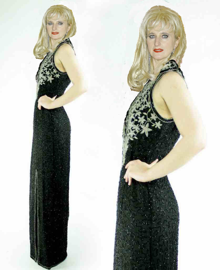 Silk Sequin Beaded High Slit Trophy Maxi Dress image 2