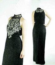 Silk Sequin Beaded High Slit Trophy Maxi Dress image 3