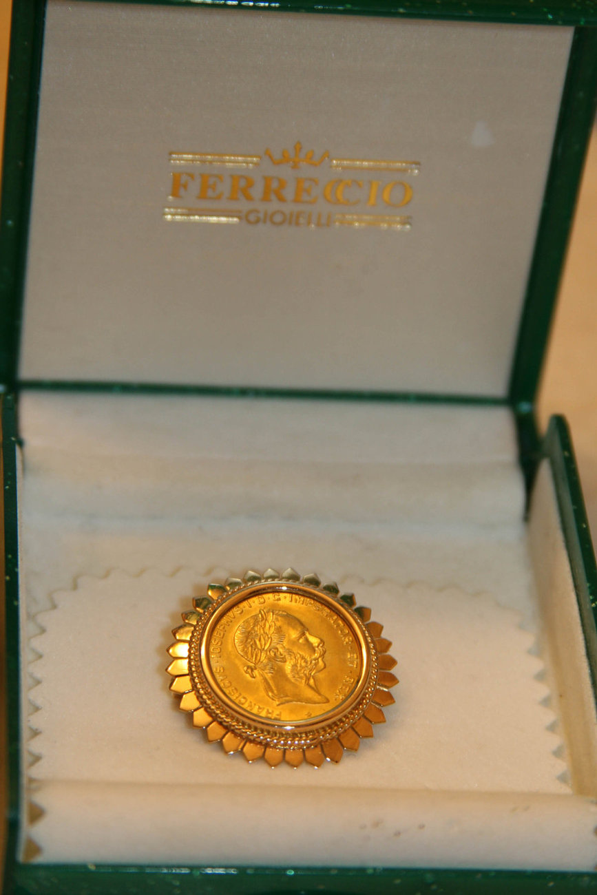 Primary image for Austrian 4 Florins 10 Francs Gold Coin set in handcrafted 18K Solid Gold Brooch