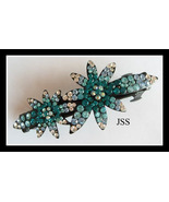 Jss teal 2 flower hairclip thumbtall