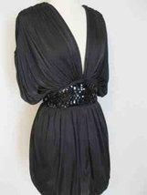 Black Sequin Deep V Cocktail Party Mini Dress image 3