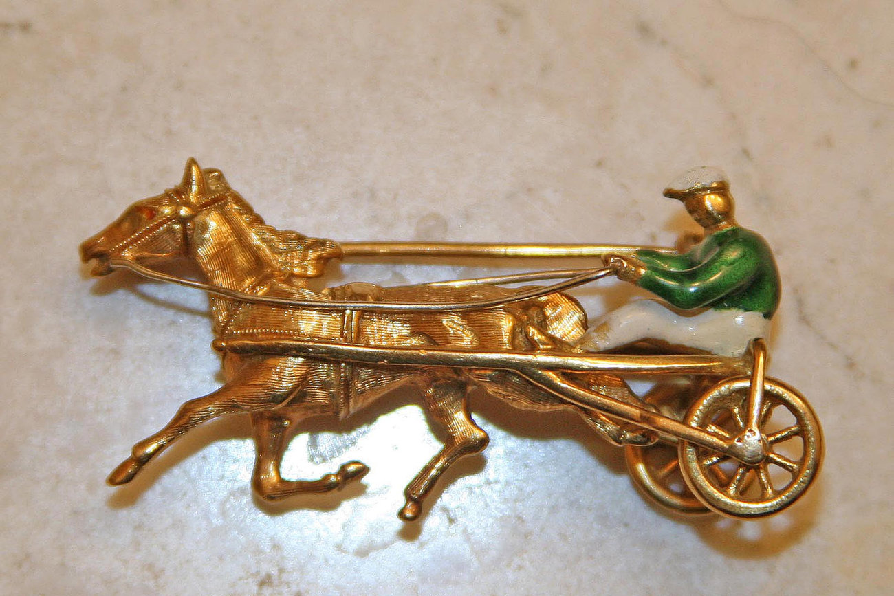 Primary image for Trotter Horse 18K Solid Yellow Gold Pin Made in Italy