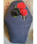 Handmade Navy Blue Pin-striped Denim Black Red Rose Coffin Gothic Throw ... - $24.99