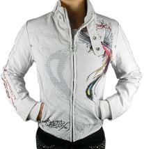 NEW ED HARDY CHRISTIAN AUDIGIER WOMEN'S PREMIUM JACKET PANTHER TAUPE SIZE SMALL image 2