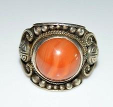 VTG .925 Sterling Silver Orange Agate Cabochon Tribal Ring Size 11.5  12 grams - $99.00