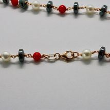 925 Silver Necklace with Coral Red Bamboo FW Pearls and Hematite Made in Italy image 7